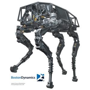 BigDog Boston Dynamics. Technical Illustration by Creative Freelancer James Provost.