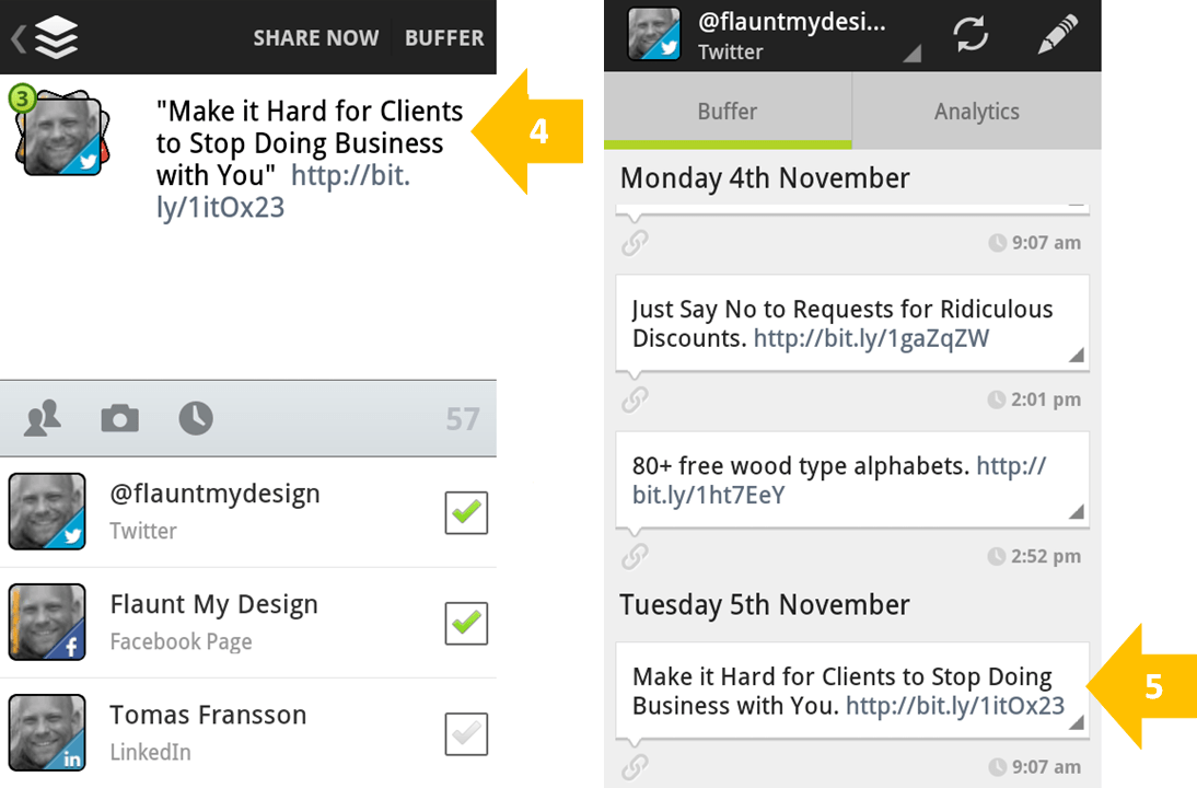 Use Feedly and Buffer to Find Content and Share (step 4-5)
