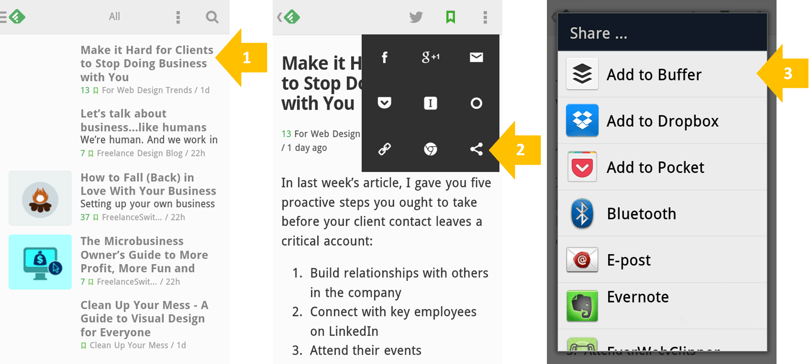 Use Feedly and Buffer to Find Content and Share in Feedly (step 1-3)