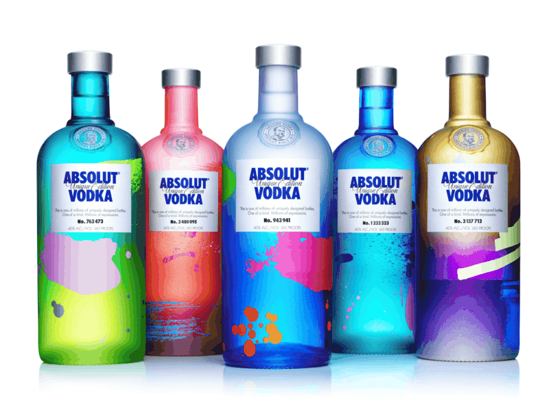 """The product Vodka definitely belongs to """"Sagmeister's Sectors of Unbelievable Impact"""" for graphic design. The Absolut Company has been very successful in transforming a generic product to something amazing through art, design and advertising. This is ABSOLUT UNIQUE – a limited edition of nearly four million uniquely designed and individually numbered bottles. Read more about ABSOLUT Unique by clicking this image!"""