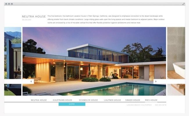 Callifornia Architecture. Minimalist Website Design by Freelance Graphic Designer Justin Page Wood. Click to visit Justin's online portfolio!