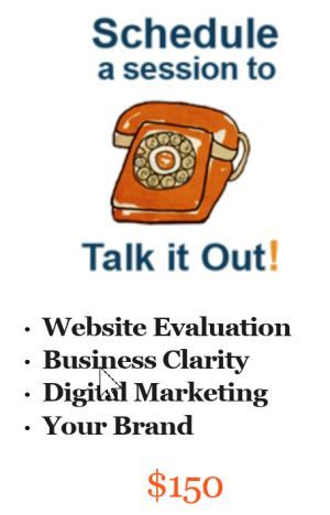 "Call to action example: Freelance Judi Knight's ""Talk it Out Session."" Judi includes the offer in every edition of her weekly newsletter. Click to check it out!"