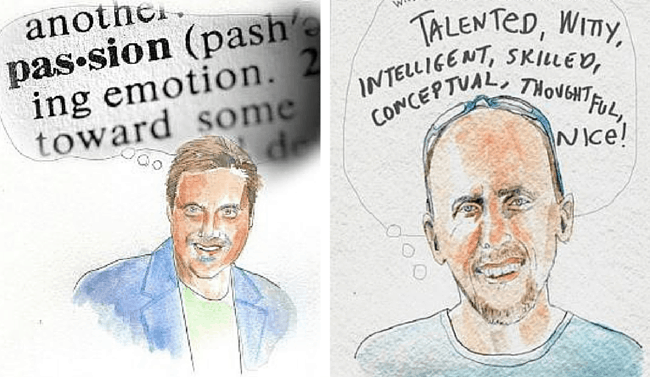 Self-promotion for Illustrators by Freelance Illustrator Dawn Schreiner. Left: Steve Carsella, Art Director, Yellow Shoes Creative Group, Walt Disney Corporation, Orlando, Florida. Right: Chris Robb, Creative Director & Partner, Push, Orlando, Florida. Click to visit Dawn Schreiner's online portfolio!