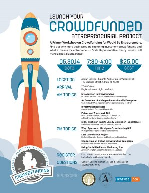 Workshop Flier Design and Logo Design for Michigan Crowdfunding by Freelance Graphic Designer Molly Mason. Click to visit Molly's online portfolio!