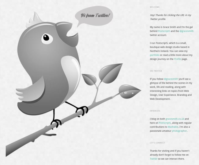 Twitter Marketing Ideas for Freelance Creatives. Grace Smith's Twitter Welcome Page.