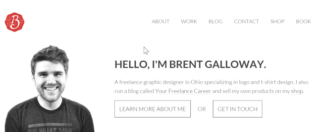 SEO for Freelance Creatives. Home Page of Freelance Graphic Designer Brent Galloway. Click to visit!
