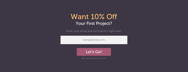 Build Your Email List With a First-Time Discount. Reliable PSD's full-width bar offering 10% off potential clients first project. Click to visit Reliable PSD!
