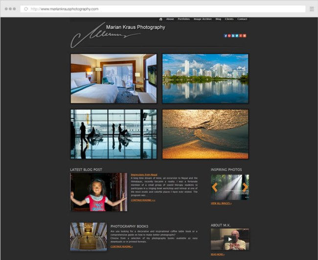 Website Design for Marian Kraus Photography by Photography Website Designer Alex Vita. Click to visit Alex's online portfolio!