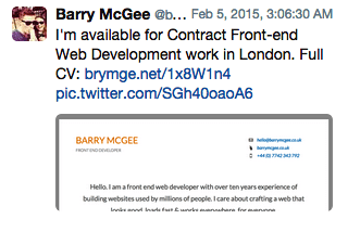 Barry's Promoted Tweet. How $200 on Promoted Tweets Got This Freelancer a 6 Month Contract.